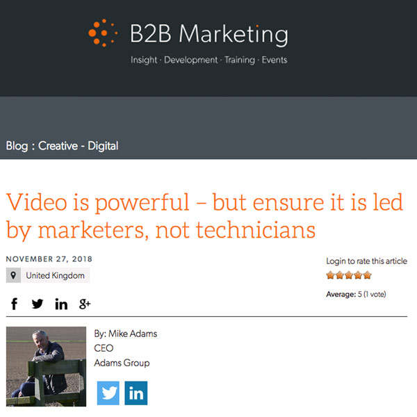 B2B Marketing Blog by Mike Adams
